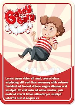 Karakterspelkaartsjabloon met woord gassy gary