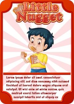 Karakterspelkaartsjabloon met woord little nugget