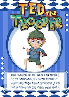 Karakterspelkaartsjabloon met woord ted the trooper