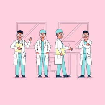 Karakterverzameling van artsen grote reeks geïsoleerde vlakke illustratie die professionele uniform dragen, cartoonstijl op ziekenhuisthema