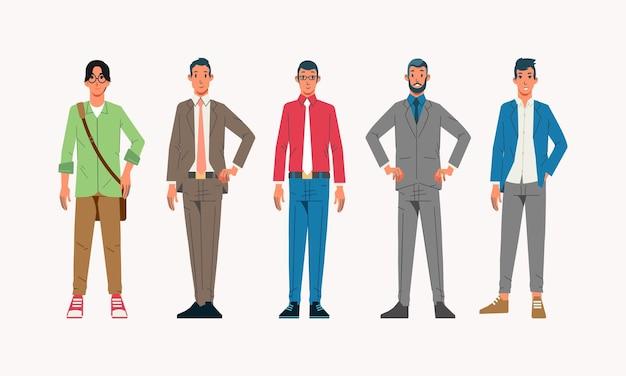 Karakterverzameling van outfit voor kantoormedewerkers met outfits van verschillende leeftijden en kapsels die worden gebruikt voor avatar-profielfoto en andere