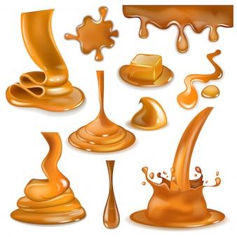 Karamel splash zoete vloeiende vloeibare saus of gieten chocoladeroom illustratie set karamelcandies en spetterend romige druppels of druppel geïsoleerd op witte achtergrond