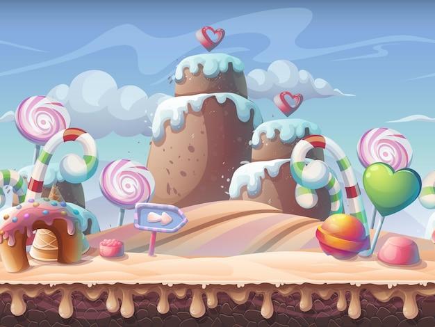 Karamel vectorillustratie. zoet landschap voor games
