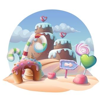 Karamel vectorillustratie. zoete afbeelding voor games