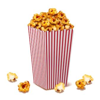 Karamelpopcorn in klassieke gestreepte container, 3d illustratie