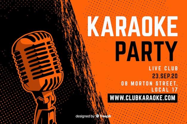 Karaoke banner sjabloon hand getrokken microfoon