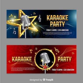 Karaoke banner sjabloon realistische stijl