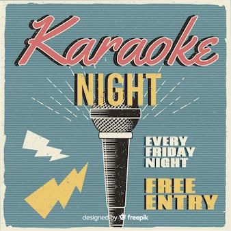 Karaoke banner sjabloon retro stijl