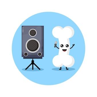 Karaoke bone schattig karakter mascotte