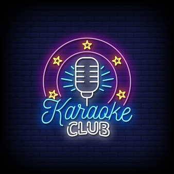 Karaoke club neonreclames stijl tekst vector