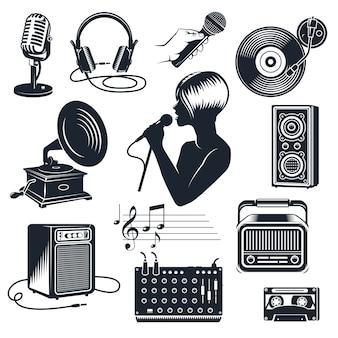 Karaoke-elementen monochrome vintage set
