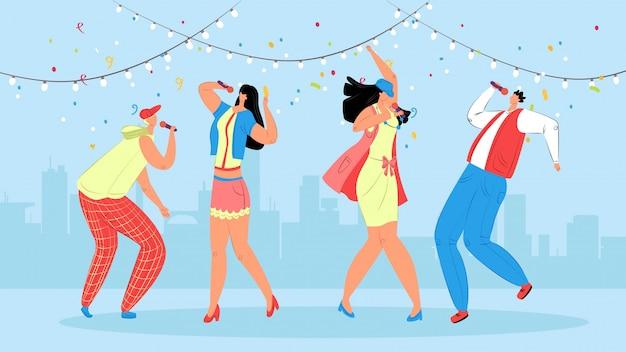 Karaoke mensen illustratie. feestelijk feest voor jongeren. groepstieners dansen graag op het podium en zingen op de microfoon op prachtige muziek. vrienden brengen samen vrije tijd door.