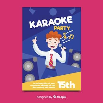 Karaoke nacht feest poster of folder sjabloon
