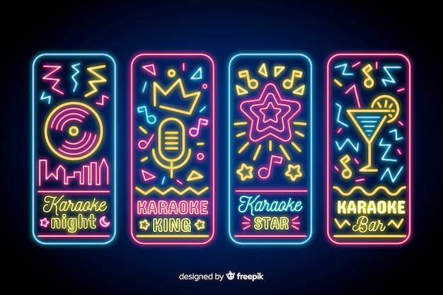 Karaoke nacht neonlicht teken collectie