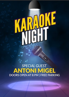 Karaoke partij uitnodiging poster ontwerpsjabloon. karaoke nacht flyer ontwerp. muziek stem concert