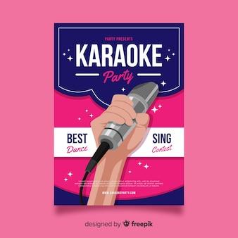 Karaoke poster sjabloon platte ontwerp