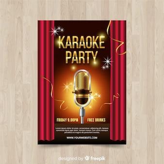 Karaoke poster sjabloon realistische stijl