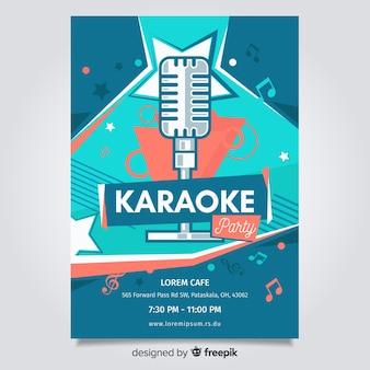 Karaoke poster sjabloon vlakke stijl