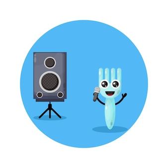 Karaoke vork schattig karakter logo