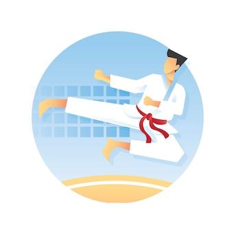Karate-atleet pronkt met zijn illustratie van de zijschoptechniek