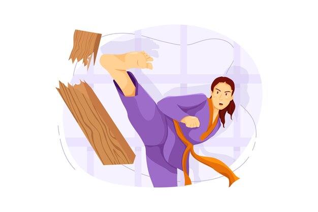Karate vechter vector illustratie concept
