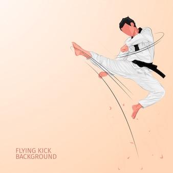 Karate vliegende kick achtergrond
