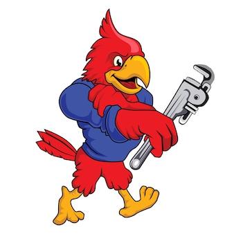 Kardinaal vogel loodgieter mascotte cartoon