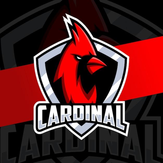 Kardinaal vogel mascotte esport logo ontwerp
