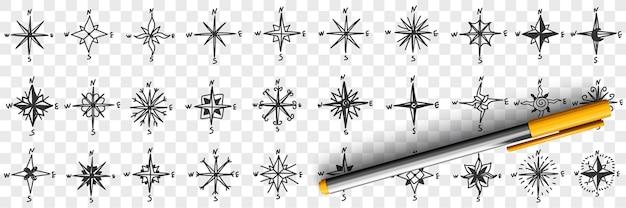 Kardinale punten op kompas doodle set