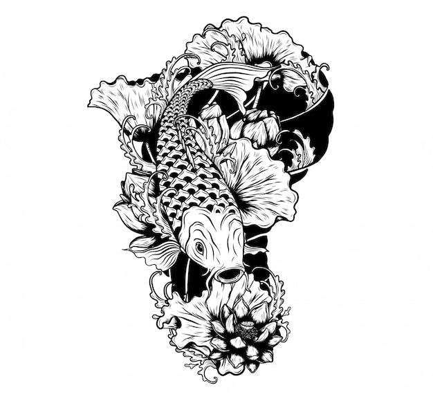 Karpervissen met lotusbloem vectortatoegering door handtekening