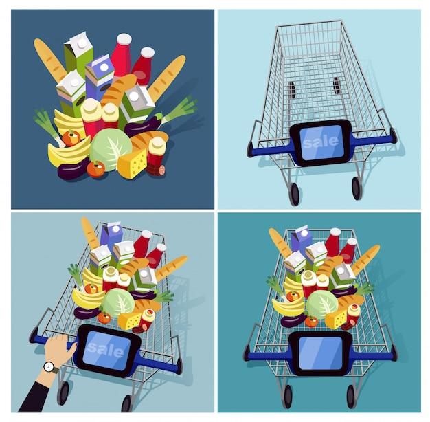 Karretje met voedsel in supermarkt
