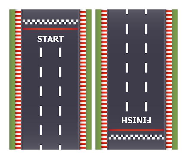 Kart race achtergrond. bovenaanzicht. lijnasfalt en cirkelvormige baanwegen. eindig en start lijnen. illustratie.