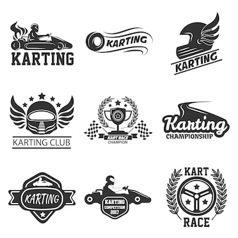Karting club of kart races sport vector sjabloon pictogrammen instellen