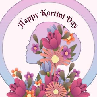 Kartini-dagillustratie in papieren stijl \