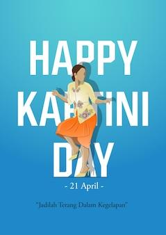 Kartini-dagviering. jadilah terang dalam kegelapan betekent licht in het donker