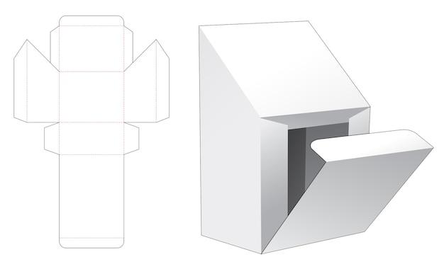 Kartonnen afgeschuinde topkoffer en gestanste sjabloon met zijopening