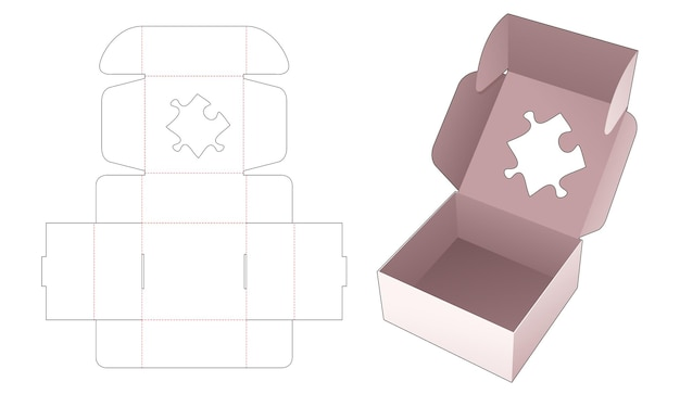 Kartonnen bakdoos met gestencilde gestanste sjabloon in de vorm van een puzzel