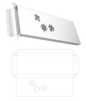 Kartonnen blik en lange verpakking met gestencilde gestanste sjabloon in de vorm van een puzzel Premium Vector