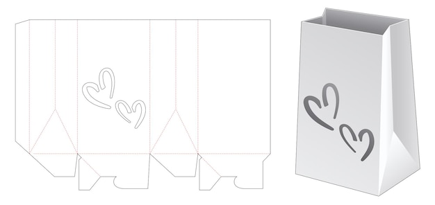 Kartonnen boodschappentas met 2 hartvormige raam gestanste sjabloon