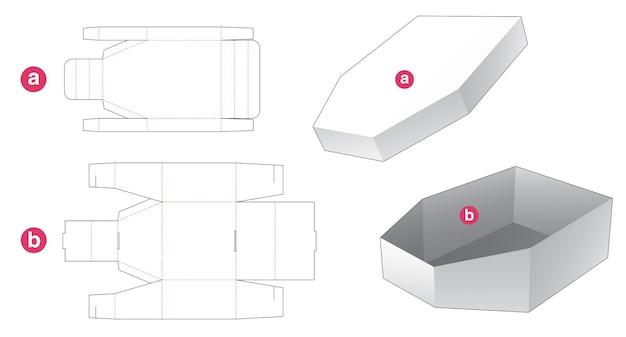 Kartonnen bootvormige verpakking en gestanst sjabloon met deksel