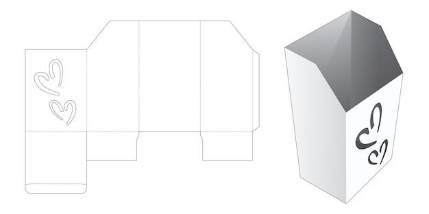 Kartonnen briefpapier doos met 2 hartvormige venster gestanste sjabloon