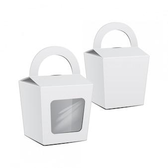 Kartonnen cake white box set. voor fastfood, cadeau.