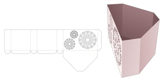 Kartonnen diamantvormige doos met gestencilde mandala gestanste sjabloon