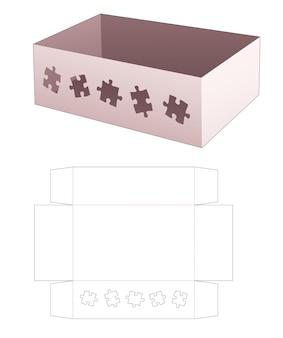 Kartonnen dienblad met gestanste sjabloon in de vorm van een venster Premium Vector