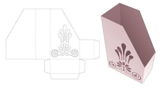 Kartonnen documentdoos met gestencilde mandala gestanste sjabloon