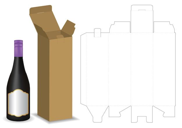 Kartonnen doos dieline voor fles pakket mockup