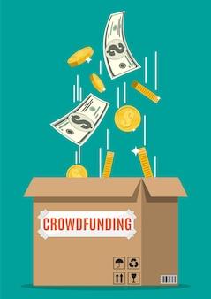Kartonnen doos en geld. financieringsproject door geldelijke bijdragen van mensen in te zamelen. crowdfundingconcept, opstarten of nieuw bedrijfsmodel.