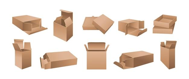 Kartonnen doos geopende papieren pakketposities