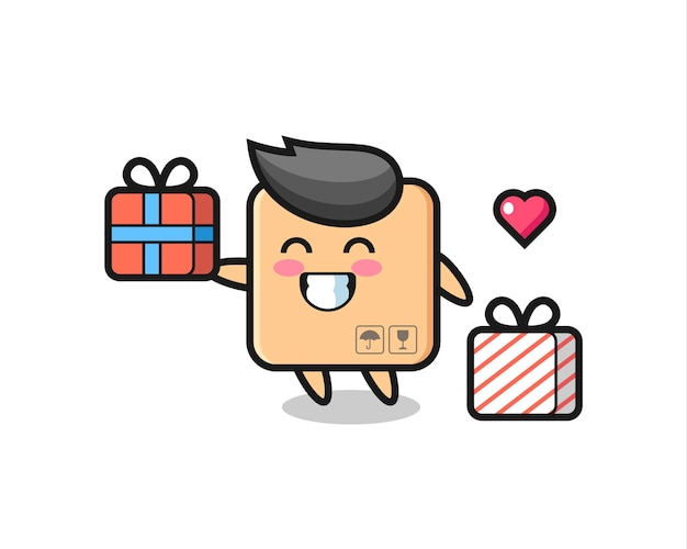 Kartonnen doos mascotte cartoon die het geschenk geeft, schattig stijlontwerp voor t-shirt, sticker, logo-element