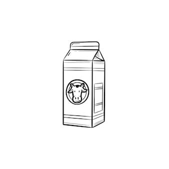 Kartonnen doos melk hand getrokken schets doodle pictogram. zuivelproduct - melk schets vectorillustratie voor print, web, mobiel en infographics geïsoleerd op een witte achtergrond.